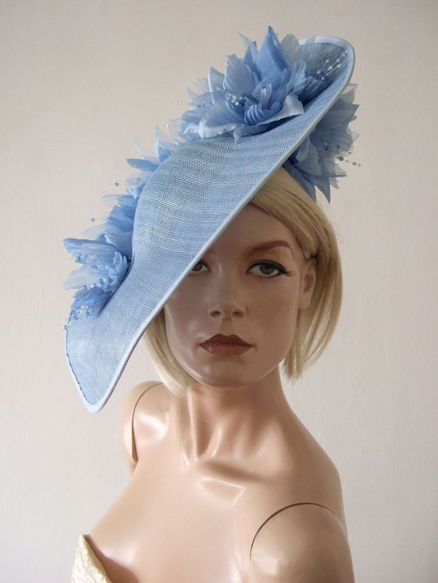 Pale Blue Handmade Saucer Hat Hatinator with Silk Roses for Wedding, Royal Ascot Designer Hats. Hats for Royal Ascot, Pale Blue Mother of the Bride Hat.